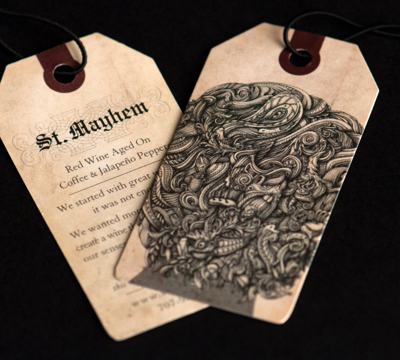 St. Mayhem Wine Packaging Design & Logo Necker Detail