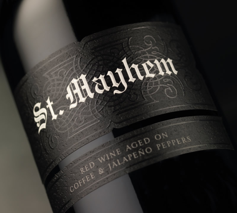 St. Mayhem Wine Packaging Design & Logo Label Detail