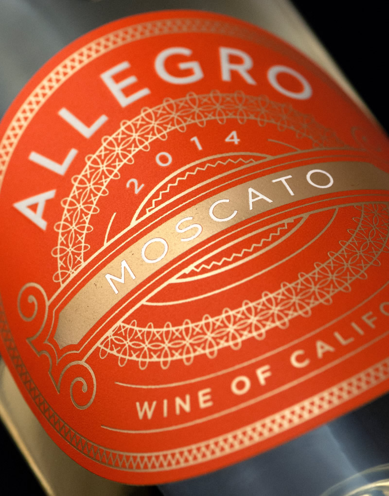 Allegro Moscato Wine Packaging Design & Logo Label Detail