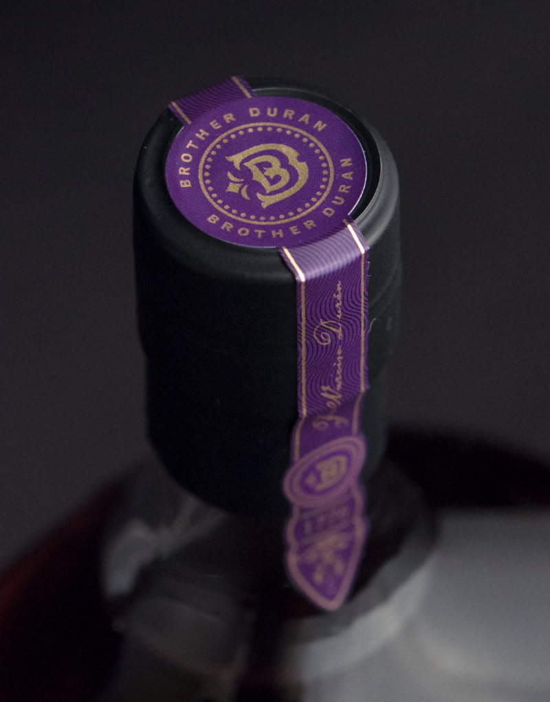 Brother Duran Brandy Packaging Design & Logo Top Strip Label Detail