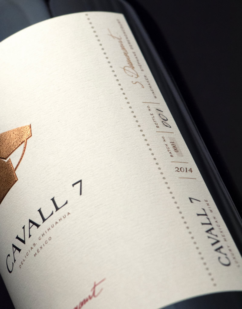 Cavall 7 Wine Packaging Design & Logo Label Detail