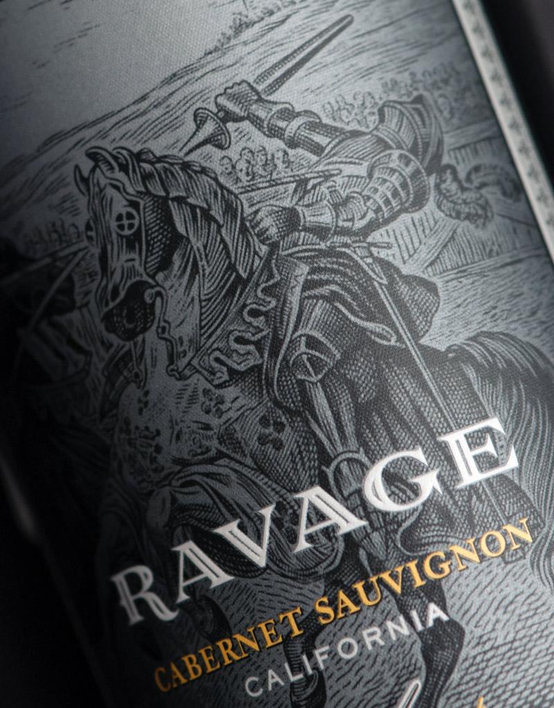 Ravage Wine Packaging Design & Logo Label Detail