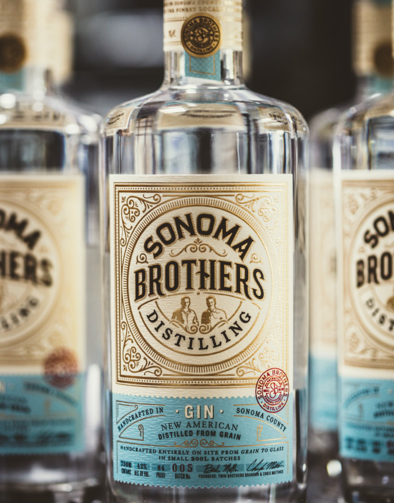 Sonoma Brothers Distilling Spirits Packaging Design & Logo Gin