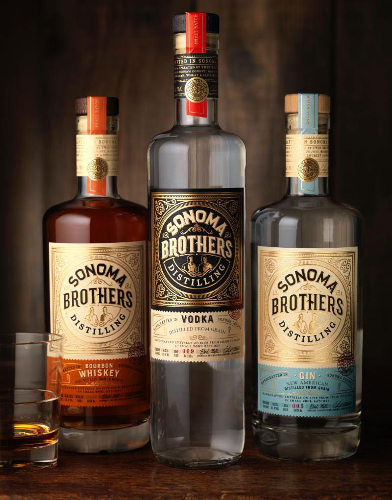 Sonoma Brothers Distilling Spirits Packaging Design & Logo