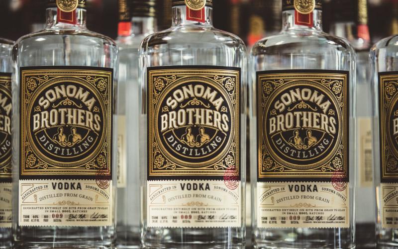 Sonoma Brothers Distilling Spirits Packaging Design & Logo Vodka