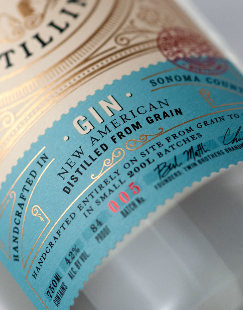 Sonoma Brothers Distilling Spirits Packaging Design & Logo Gin Label Detail