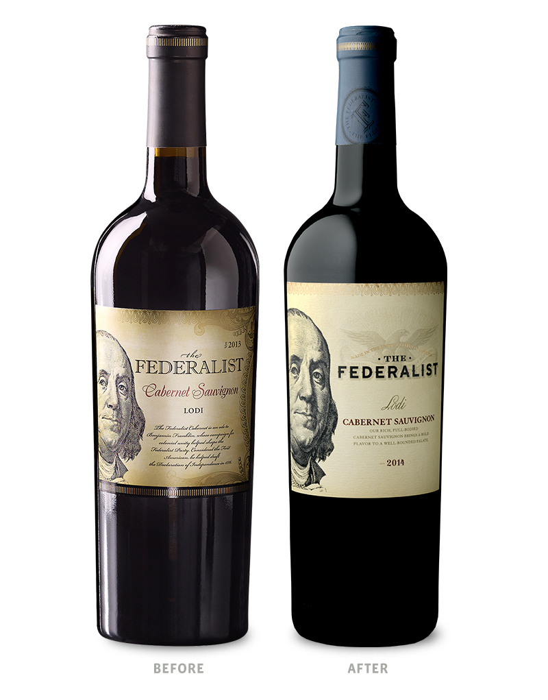 The Federalist Cabernet Sauvignon Before Wine Packaging Redesign on Left & After on Right