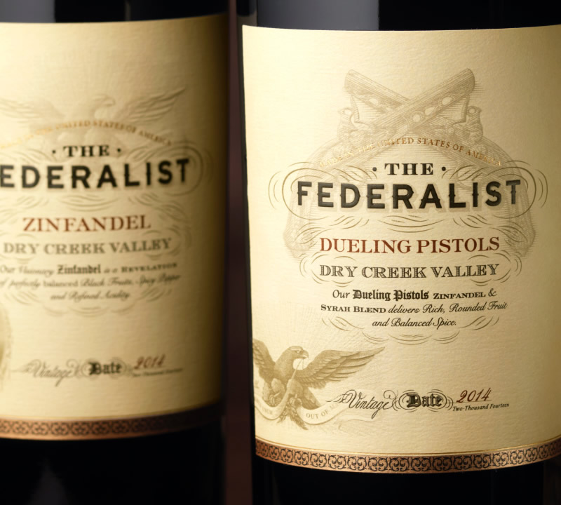 The Federalist Wine Packaging Design & Logo Dueling Pistols Close Up