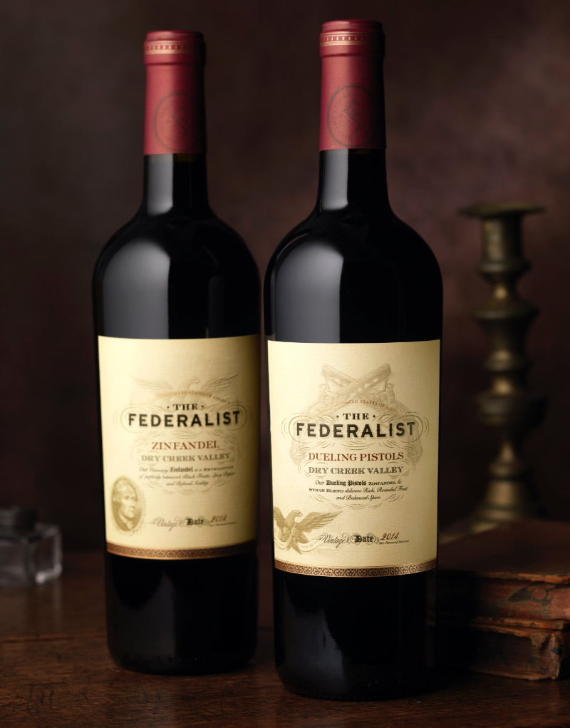 The Federalist Wine Packaging Design & Logo Dueling Pistols