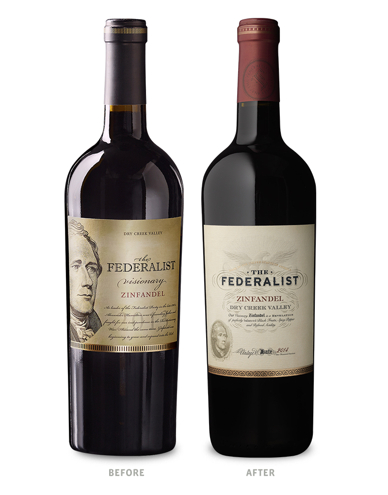 The Federalist Zinfandel Before Wine Packaging Redesign on Left & After on Right