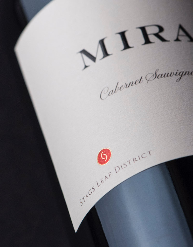 Mira Winery Packaging Design & Logo Stag's Leap Cabernet Sauvignon Label Detail