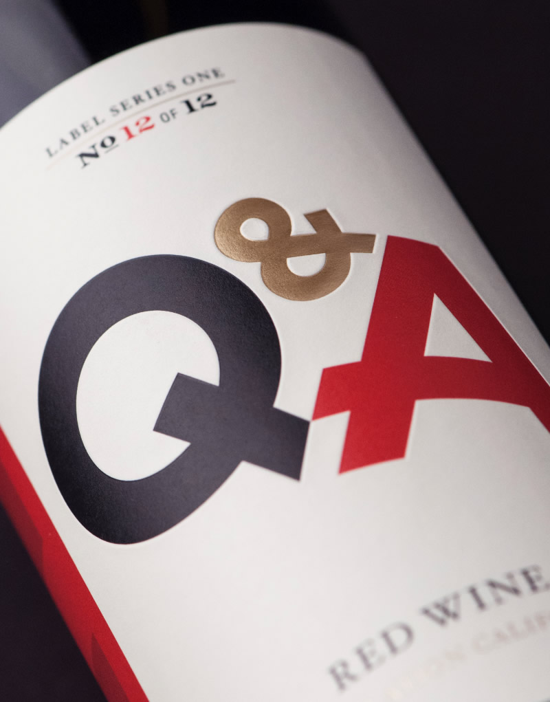 Q & A Wine Packaging Design & Logo Label Detail