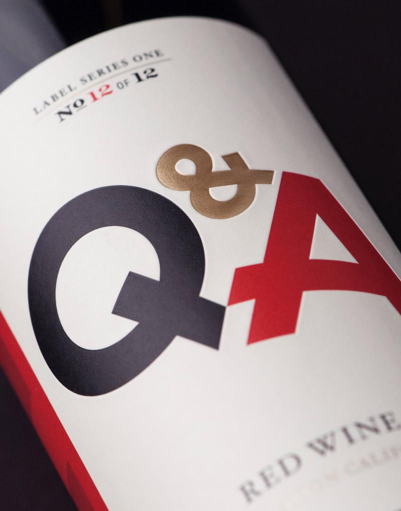 Q & A Wine Packaging Design & Logo Label Detail