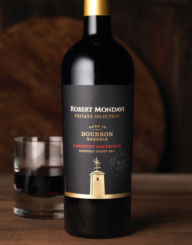 Robert Mondavi Wine Packaging Design & Logo Bourbon Barrel Aged