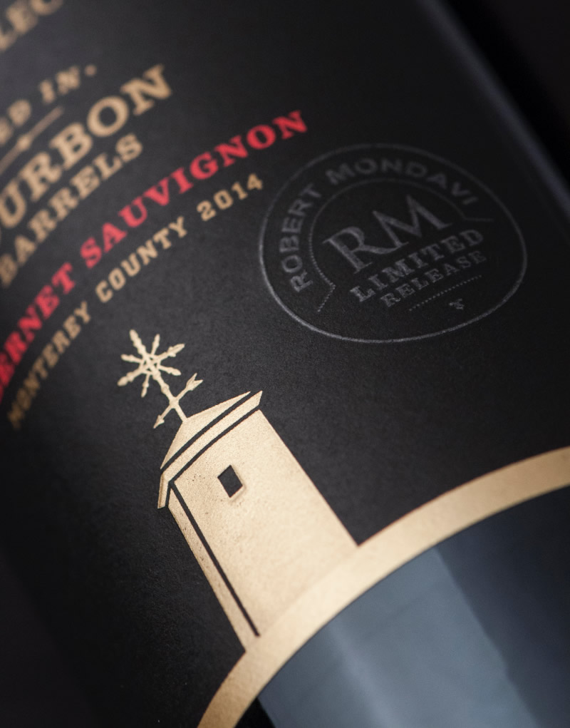 Robert Mondavi Wine Packaging Design & Logo Bourbon Barrel Aged Label Detail