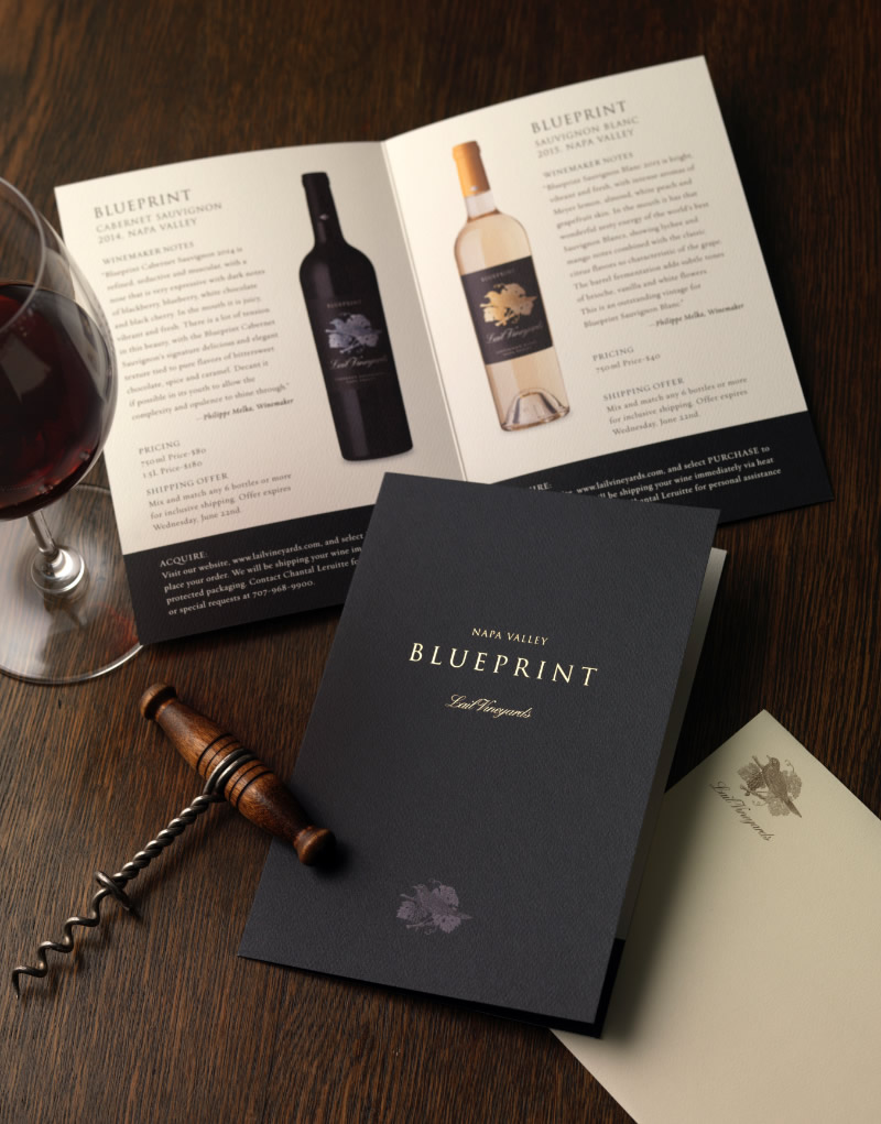 Lail Vineyards Blueprint Release Mailer Design