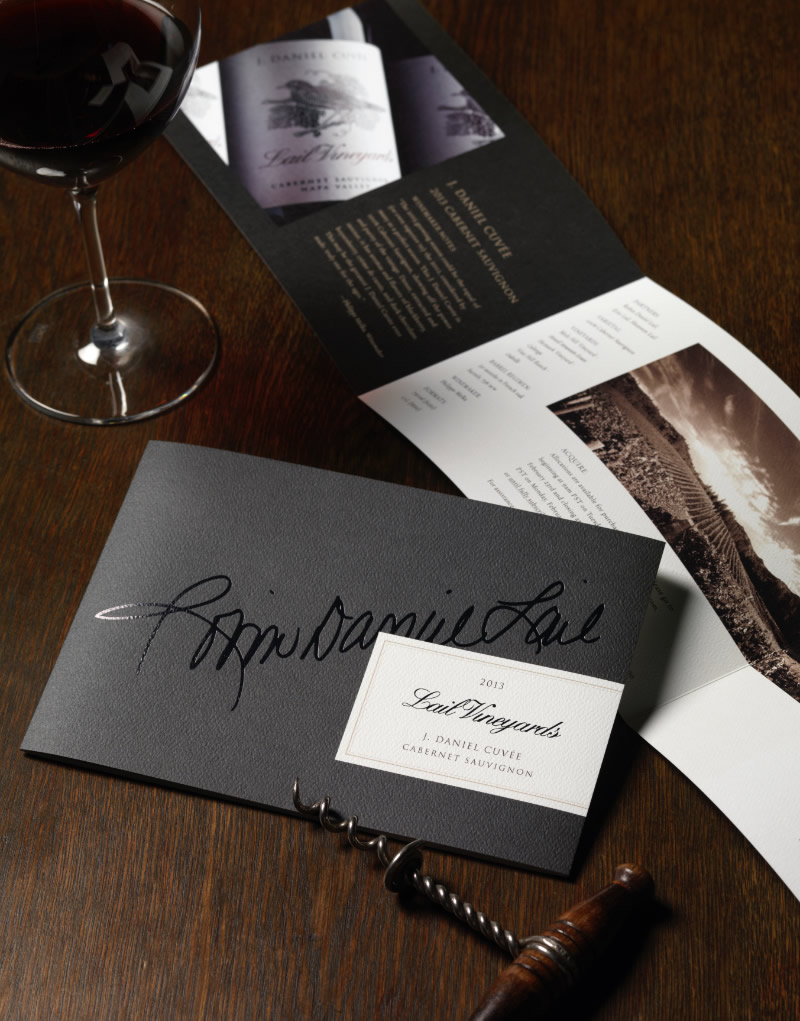 Lail Vineyards J. Daniel Cuvée Cover and Inside Spread Mailer Design
