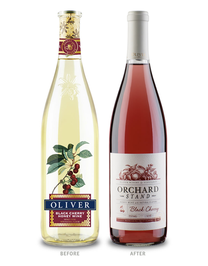 Orchard Stand Wine Packaging Before Redesign on Left & After on Right