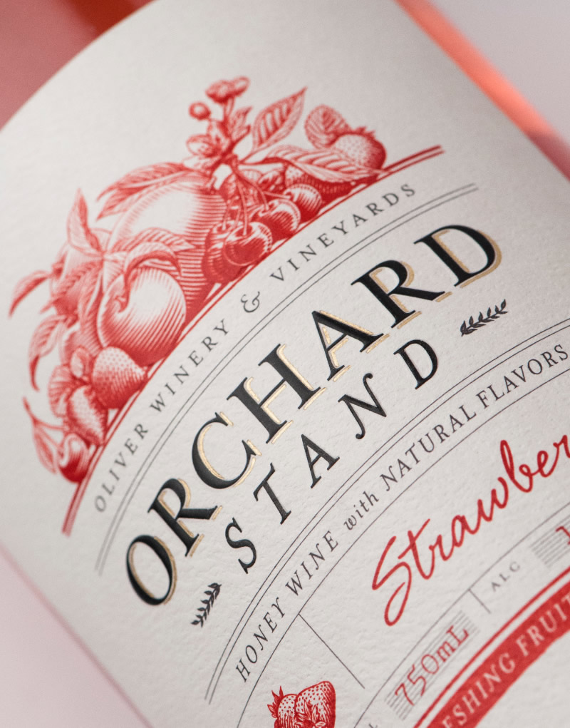 Orchard Stand Wine Packaging Design & Logo Strawberry Label Detail