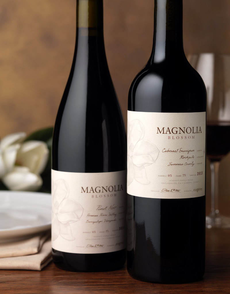 Magnolia Blossom Wine Packaging Design & Logo