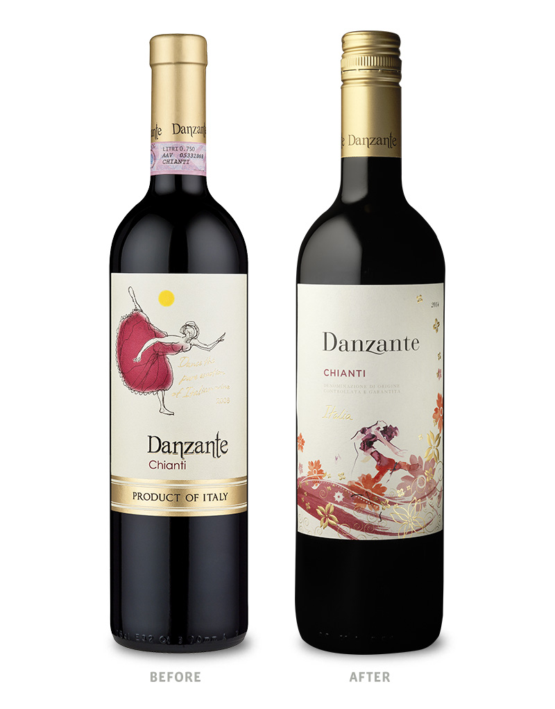 Danzante Wine Packaging Before Redesign on Left & After on Right