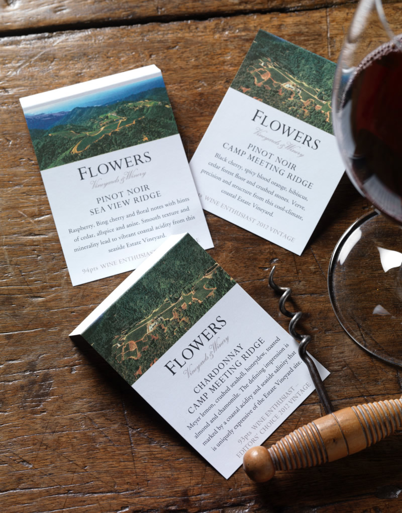 Flowers Vineyards & Winery Wine Card Design
