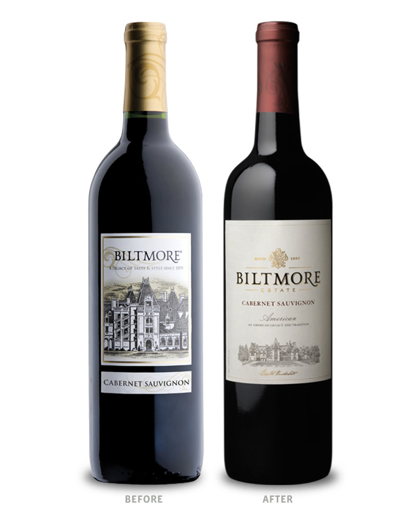 Biltmore Estate Wine Packaging Before Redesign on Left & After on Right