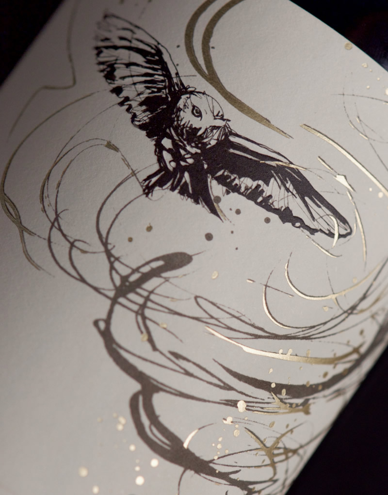 The Owl & the Dust Devil Wine Packaging Design & Logo Label Detail