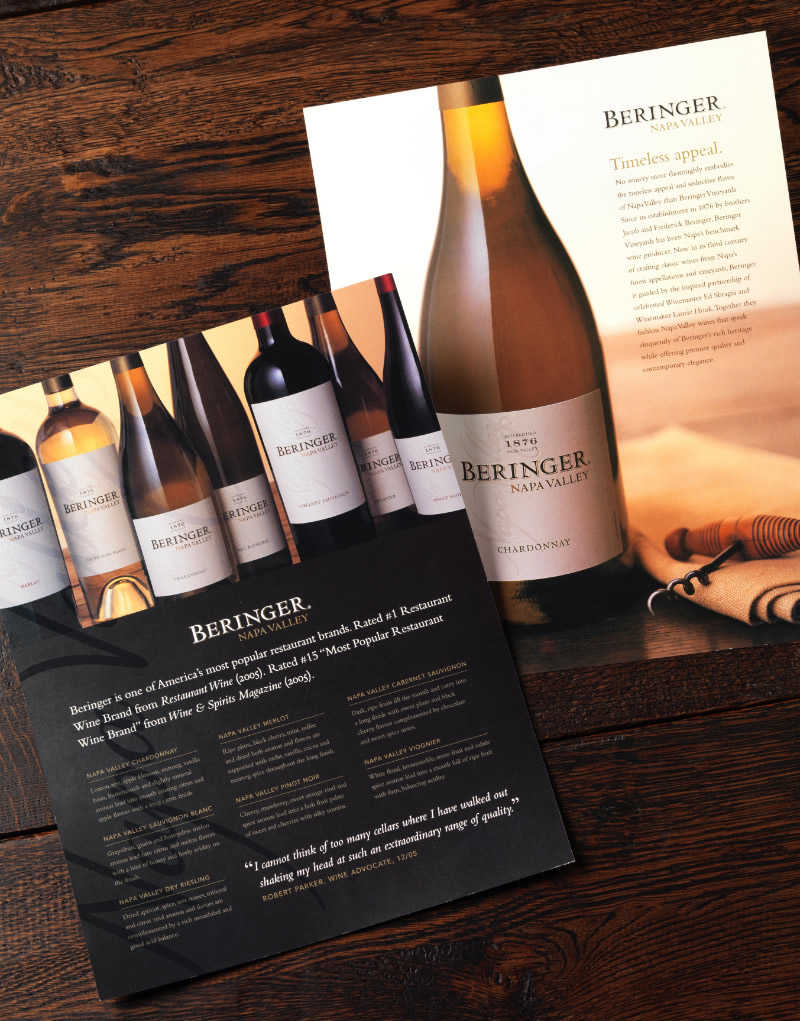 Beringer Sales Sheet Design
