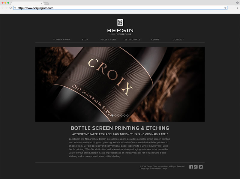 Bering Screen Printing & Etching Home Page Website Design