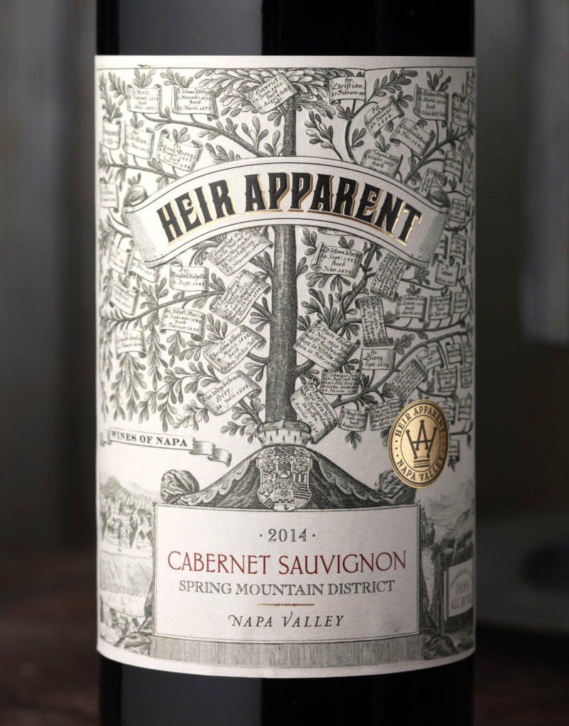Heir Apparent Wine Packaging Design & Logo Close Up