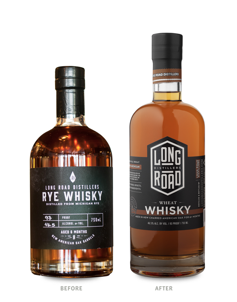 Long Road Distillers Spirits Packaging Before Redesign on Left & After on Right