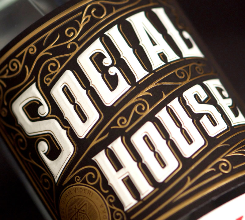 Social House Vodka Packaging Design & Logo Label Detail