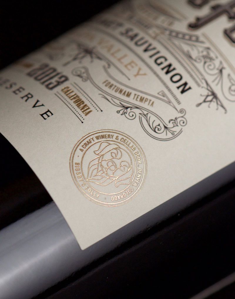 Bigsby's Folly Wine Packaging Design & Logo Label Detail