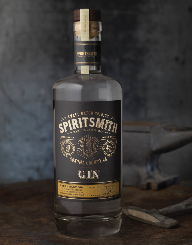 SpiritSmith Distilling Co. Gin Packaging Design & Logo
