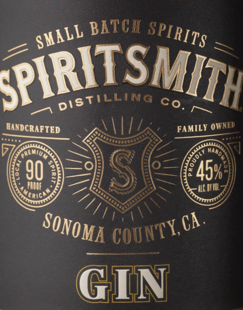SpiritSmith Distilling Co. Gin Packaging Design & Logo Close Up