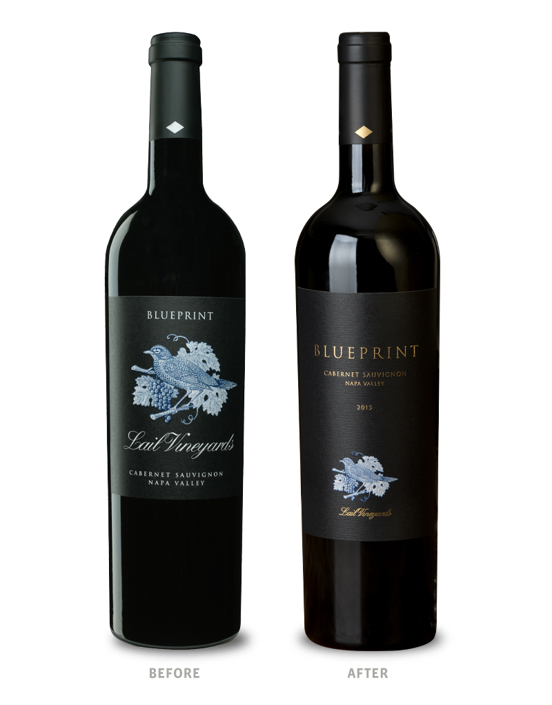 Lail Vineyards Blueprint Before Wine Packaging Redesign on Left & After on Right