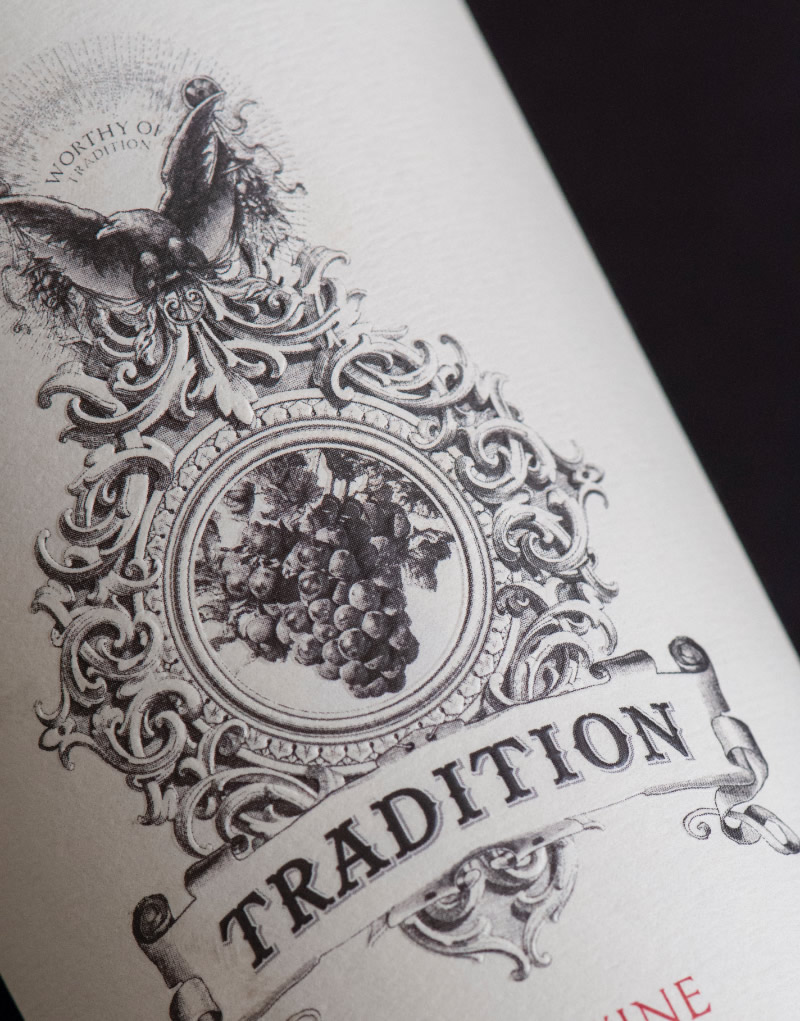 Tradition Wine Packaging Design & Logo Label Detail