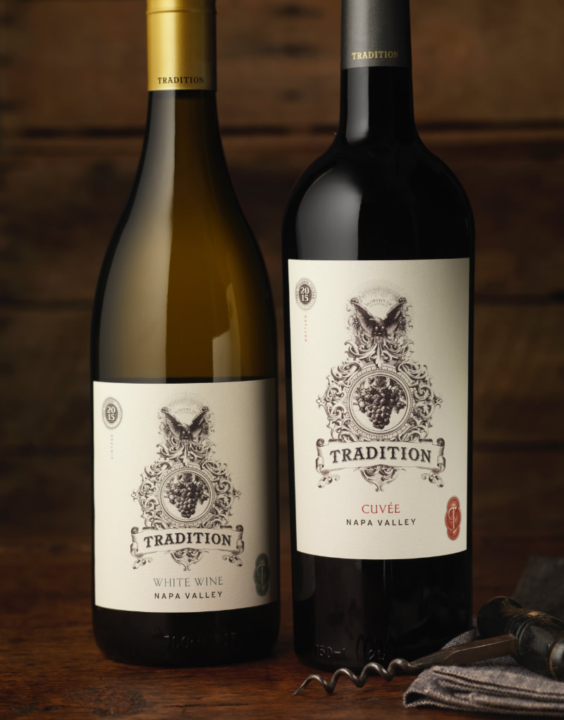 Tradition Wine Packaging Design & Logo White Wine & Cuvée