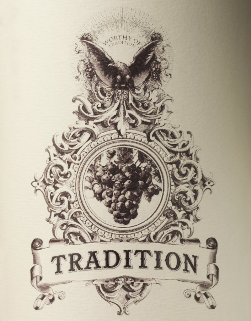 Tradition Wine Packaging Design & Logo Close Up