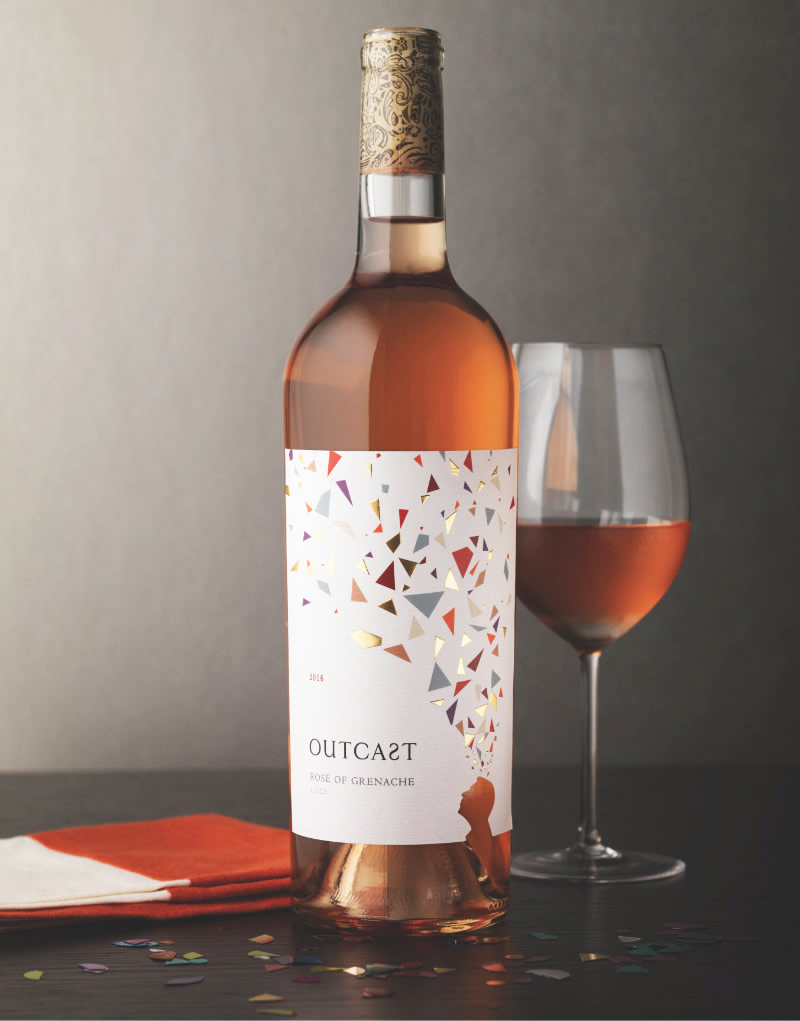Outcast Wine Packaging Design & Logo Rosé of Grenache