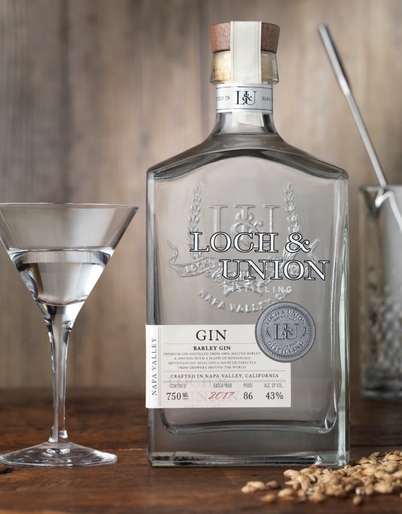 Loch & Union Distilling Gin Packaging Design & Logo Barley Gin