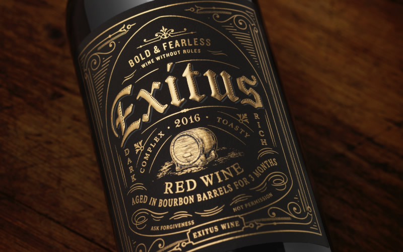 Exitus Wine Packaging Design & Logo Label Detail