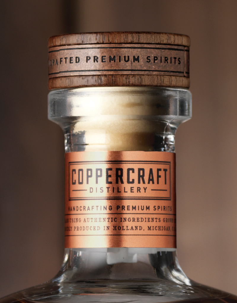 Coppercraft Distillery Spirits Packaging Design & Logo Necker Detail