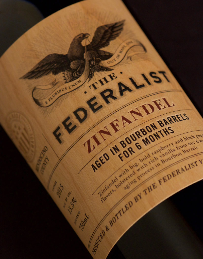 The Federalist Wine Packaging Design & Logo Label Detail