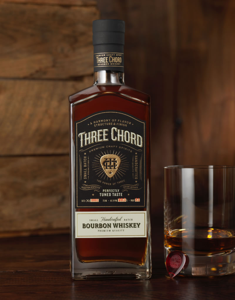 Three Chord Distilling Bourbon Packaging Design & Logo