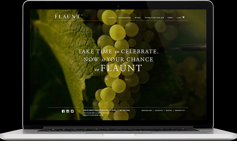 Flaunt Wine Company Homepage Website Design