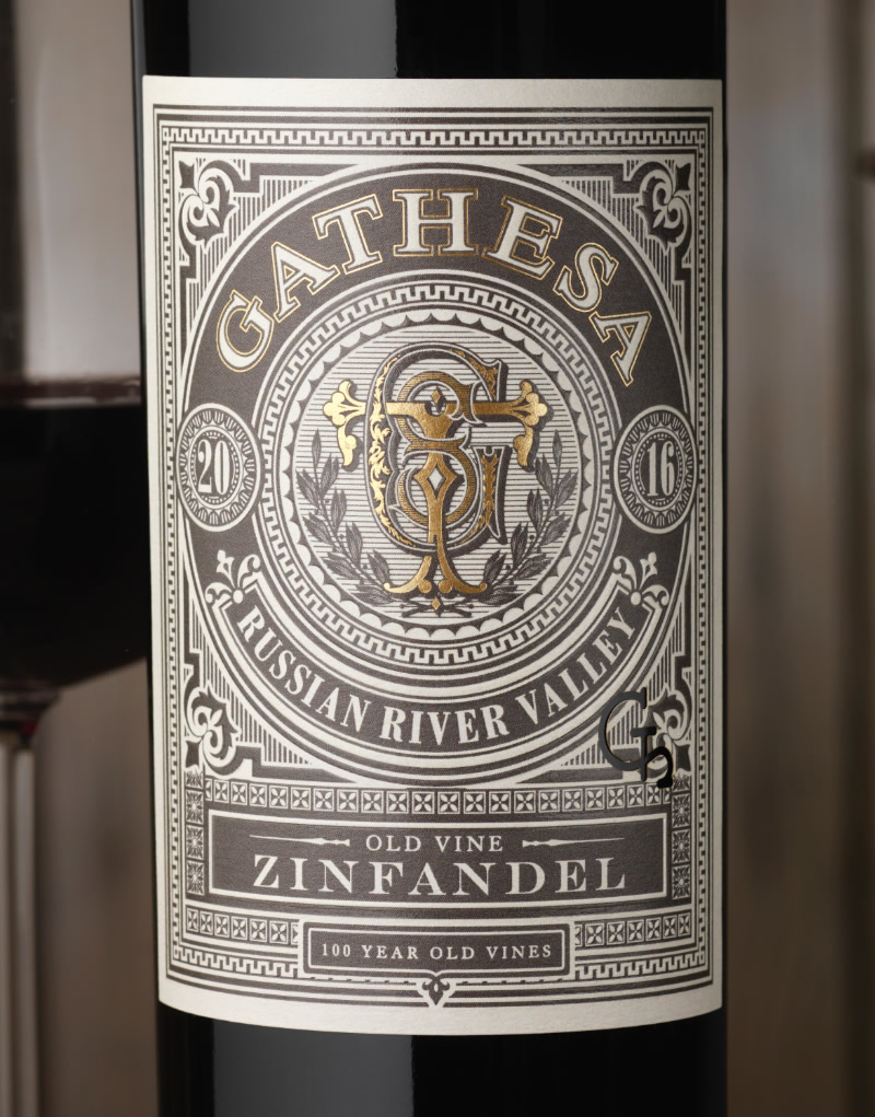 Gathesa Wine Packaging Design & Logo Close Up