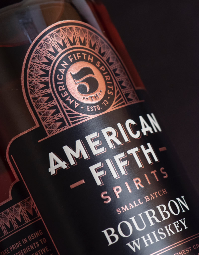 American Fifth Spirits Packaging Design & Logo Label Detail