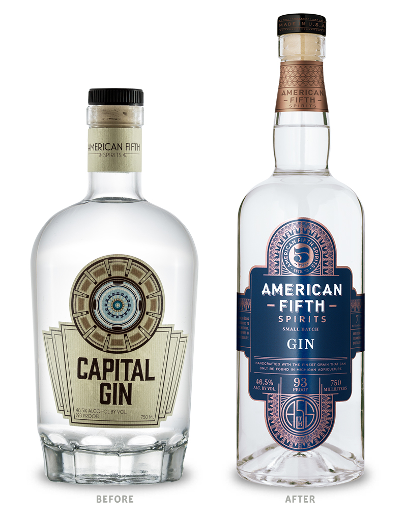 American Fifth Spirits Gin Packaging Before Redesign on Left & After on Right